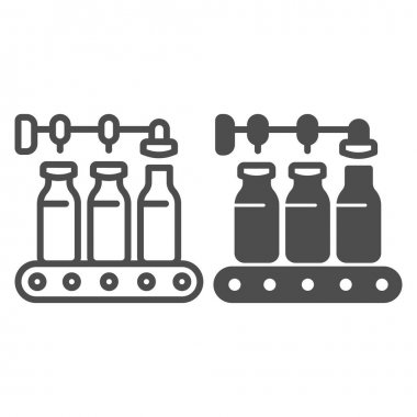 Conveyor with milk bottles line and solid icon, dairy products concept, bottling line sign on white background, Pour milk factory icon in outline style for mobile concept, web design. Vector graphics icon