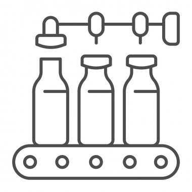Conveyor with milk bottles thin line icon, dairy products concept, bottling line sign on white background, Pour milk factory icon in outline style for mobile concept, web design. Vector graphics icon