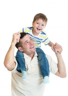 Kid son riding dads shoulders isolated on white
