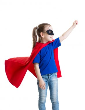 little power super hero child in red raincoat