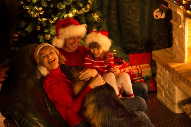 Happy family in red hats with cute dog sitting at Christmas tree near fireplace