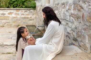 Jesus praying with a little girl