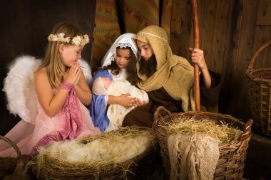 Christmas nativity with angel