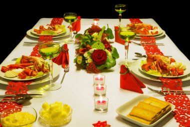Luxury Christmas table with lobster