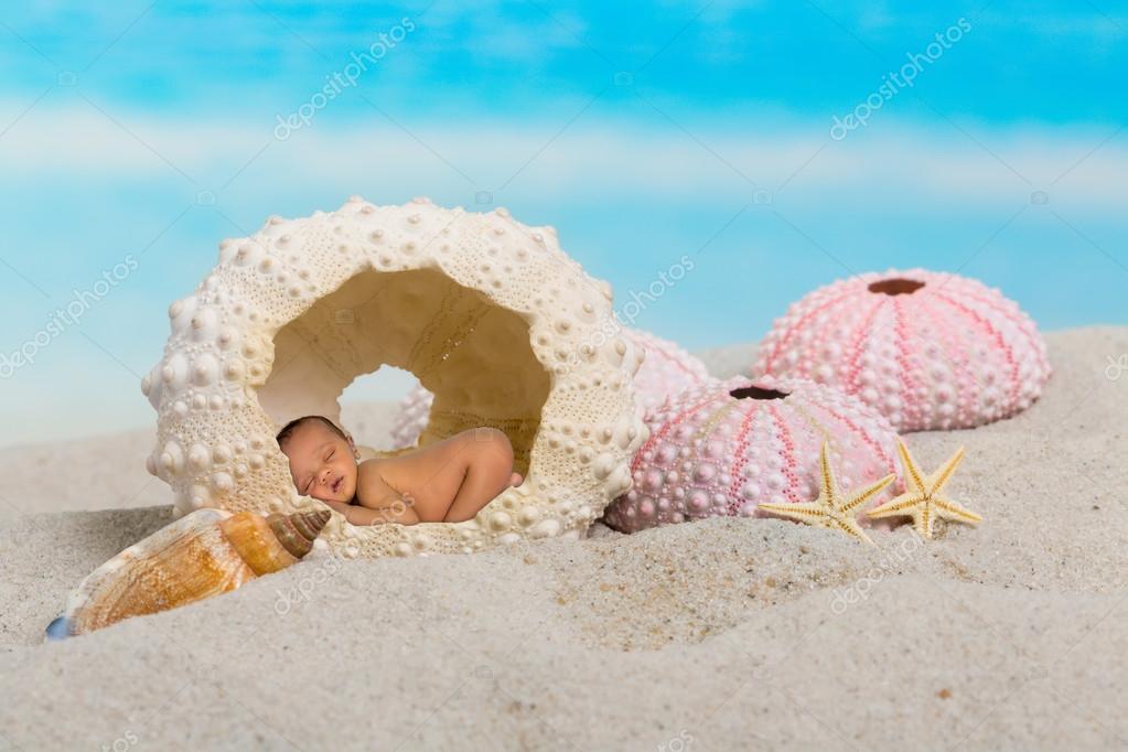 Sleepy baby in sea urchin