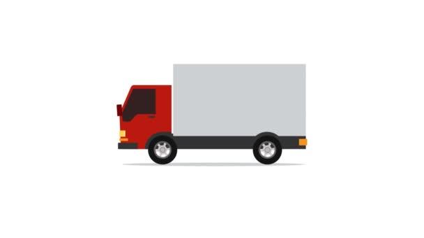 pohyb grafiky velký červený truck jízdy na silnici dodat zboží