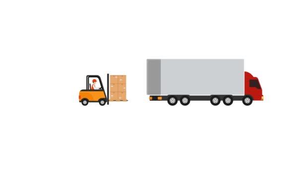 pohybová grafika přesouvá zboží pomocí vysokozdvižného vozíku do kontejnerového vozíku k odeslání na cílovou adresu