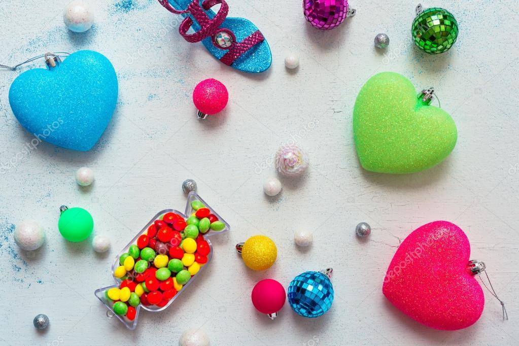 temas de color de la decoración de Navidad: arco iris de neón — Foto ...