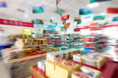 Supermarket shelves, Motion Blur FIG. stock vector