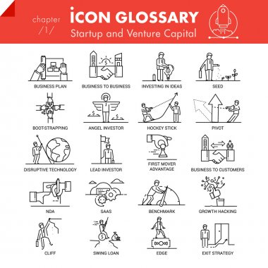 High quality outline icons pack of startup business and venture capital.