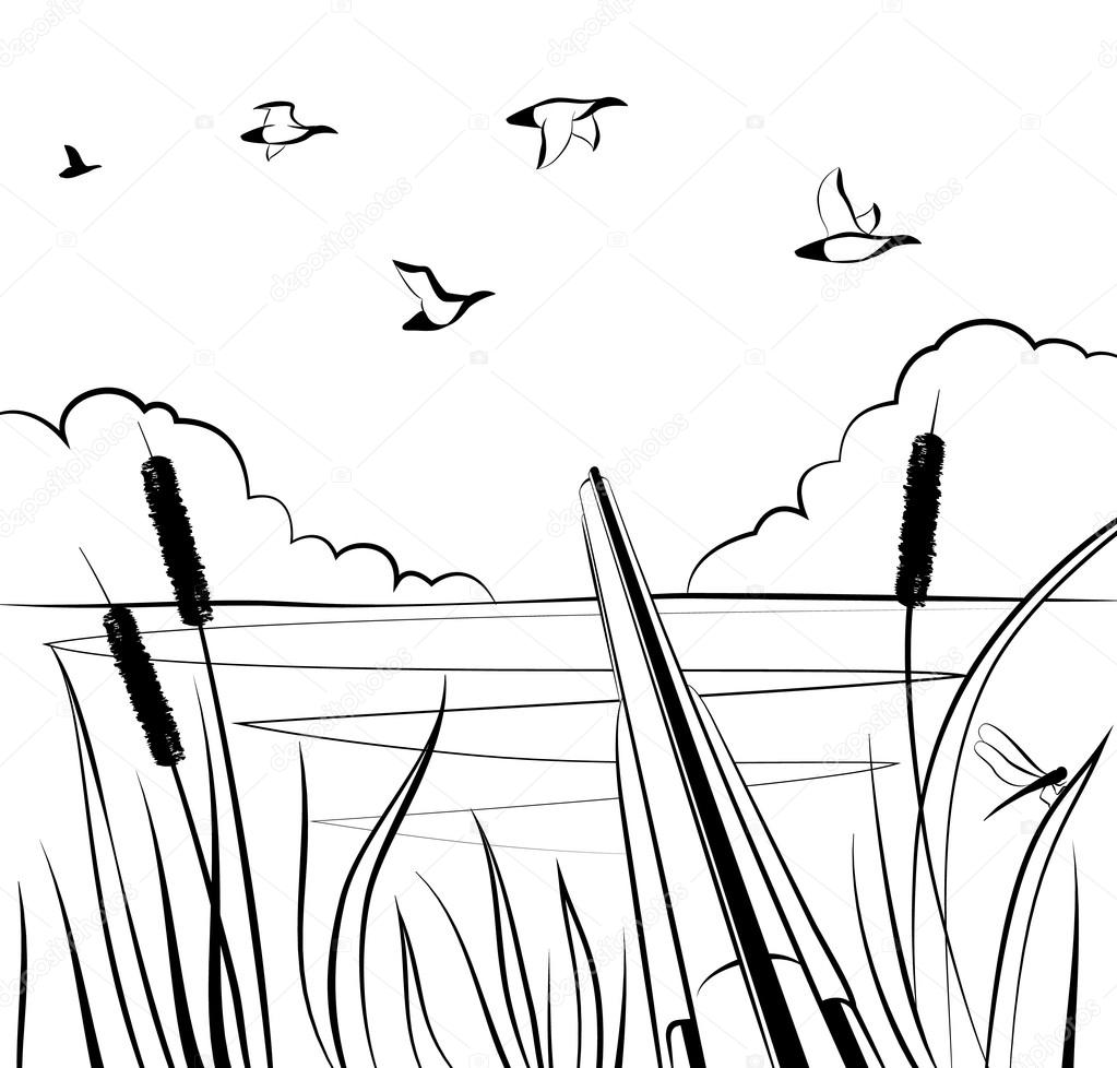 Caza de pato con una escopeta doble-barreled en la charca — Vector ...