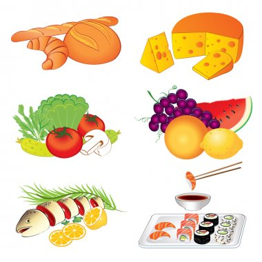 Set of vector various tasty food on white background