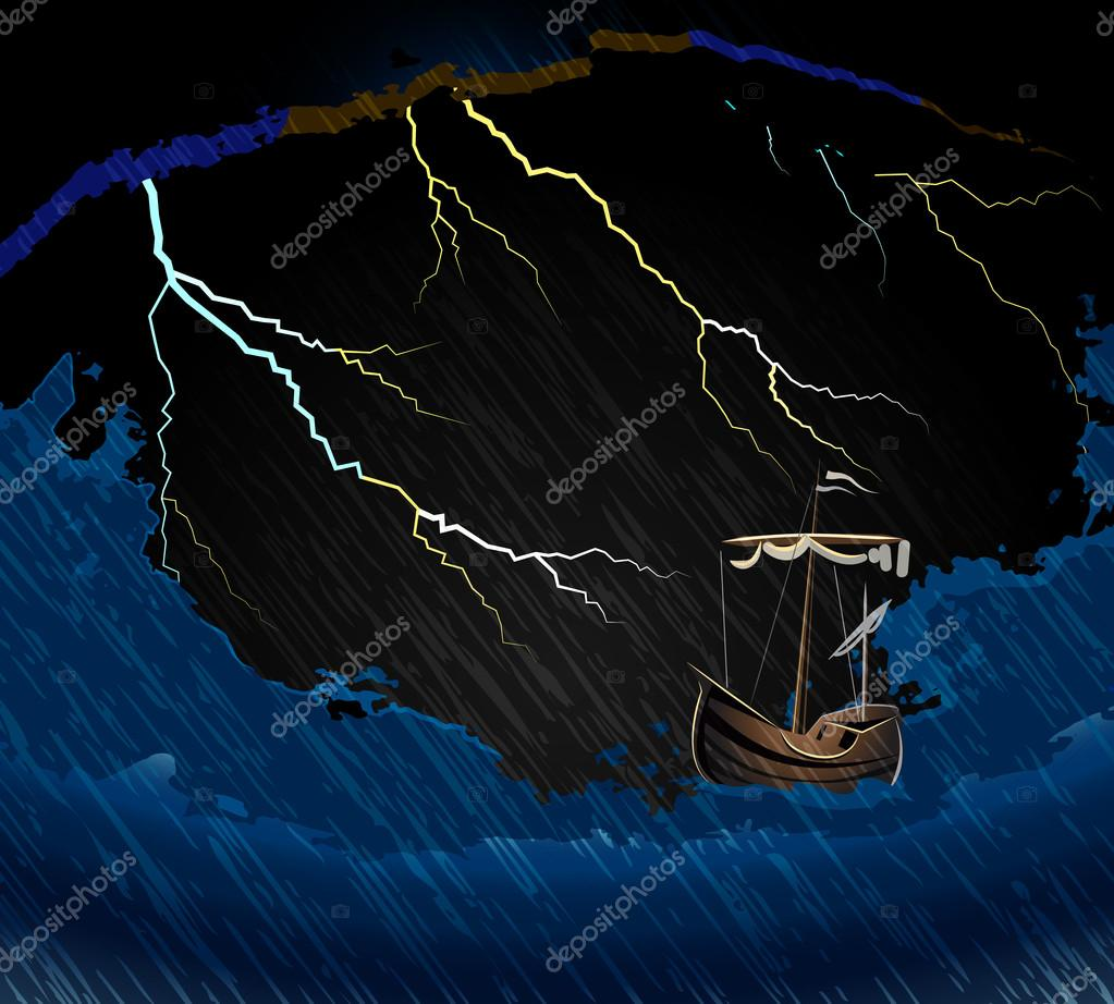 Ship in the storm on the waves in the sea and lightning