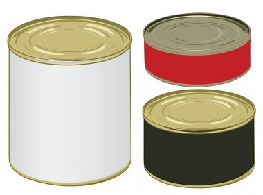 Set of aluminium colored label cans for signing your text