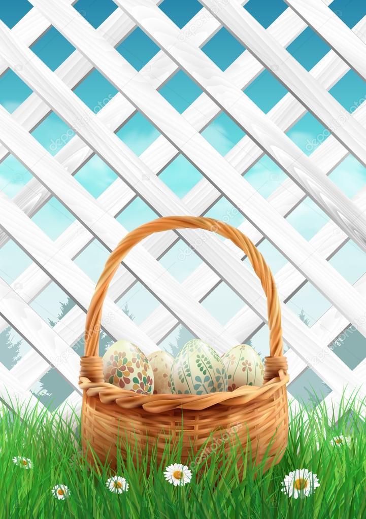 Valla de jardín blanca con Pascua cesta hierba y flores, Fondo de ...