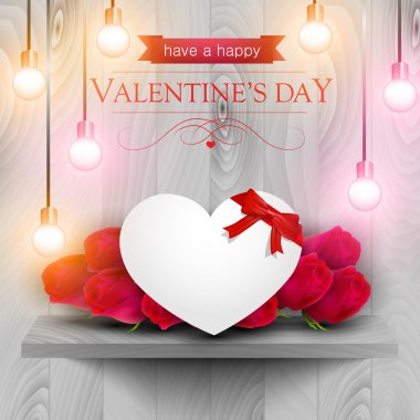 Paper heart and red roses on a wooden shelf, Valentines day card. clip art vector