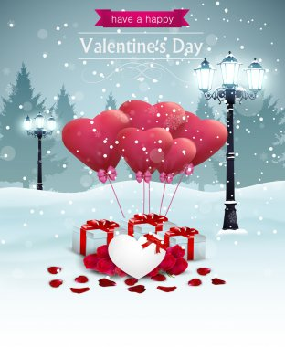 Beautiful Valentines day card width street lights heart shape balloons and presents, winter background. clip art vector