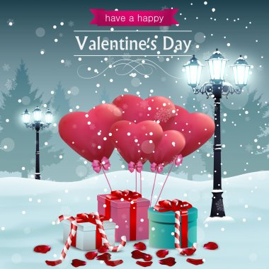 Beautiful Valentines day card width street lights heart shape balloons and presents