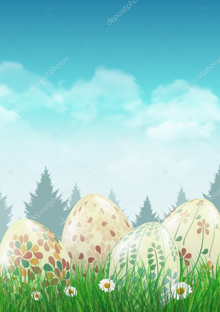 Easter eggs on a field with small white flowers