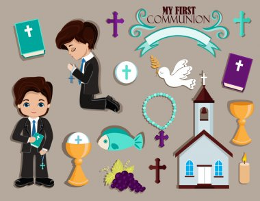 Set of design elements for First Communion for boys.