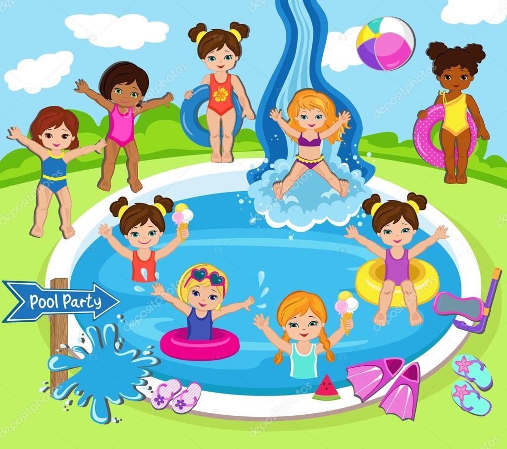 Fiesta en la piscina para ni as ilustraci n de vector for Party in piscina