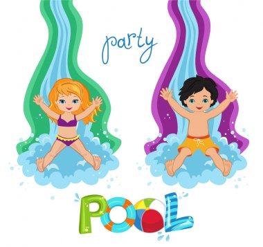 Children's Pool Party isolated on background. Vector Illustration.