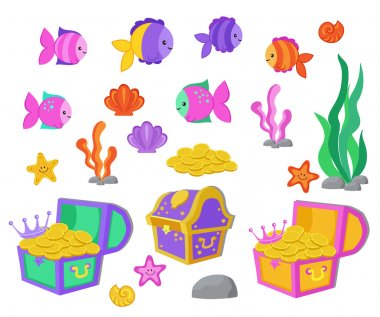 Vector cartoon set of design elements undersea world, aquarium.