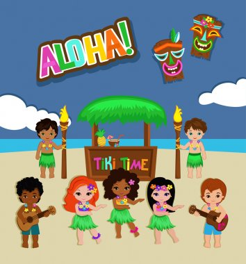 Luau Party Invitation. Vector Illustration.
