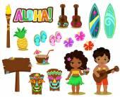 Vektorillustration hawaiianische Sammlung.