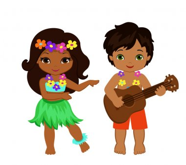 illustration of boy playing guitar and hawaiian girl hula dancing.