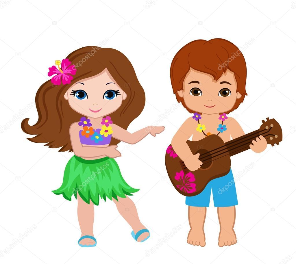 ギターとフラダンスのハワイアン ガールを弾いている少年のイラスト