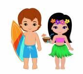 Illustration von niedlichen Jungen mit Surfbrett und Hawaii-Mädchen mit Cocktail.