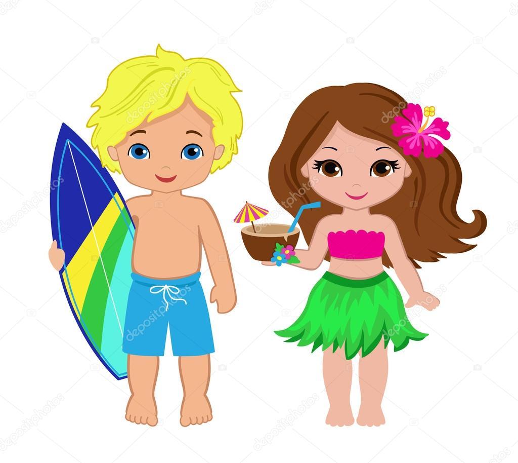 サーフボードとかわいい男の子とカクテルとハワイアン女の子のイラスト