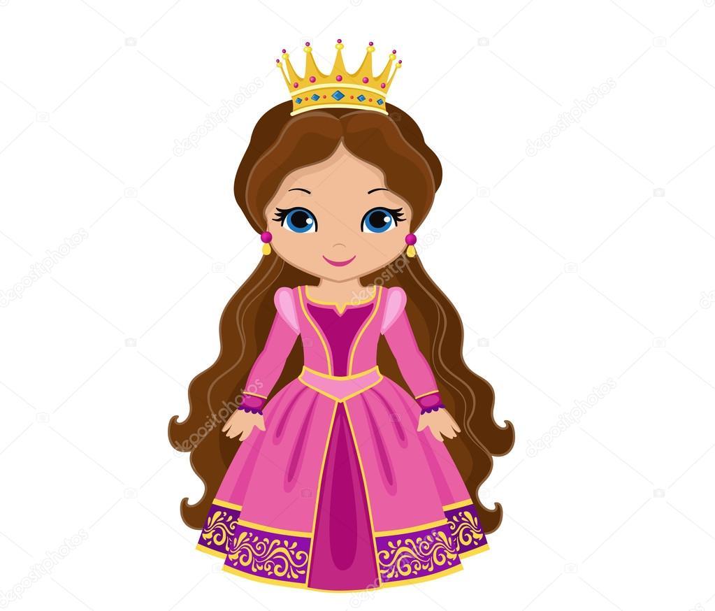 Princesa medieval con encanto en vestido rosa — Vector de stock ...