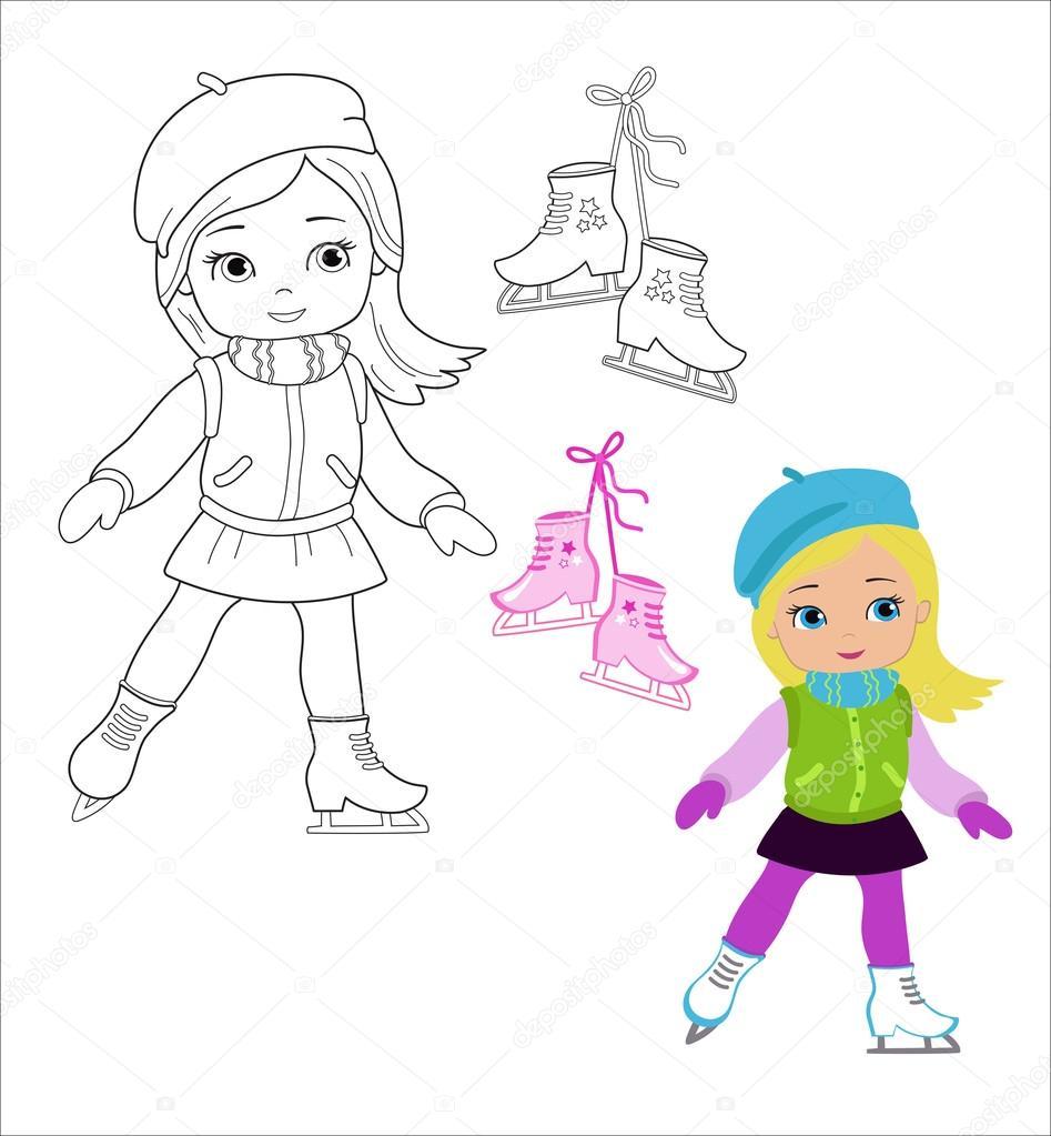 Funny niña en ropa de invierno en patines aislados sobre fondo ...