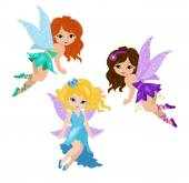Photo Illustration of three cute fairies in fly