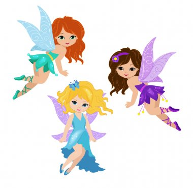 Illustration of three cute fairies in fly