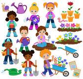 Fotografie Kinder Pflanzen Blumen und arbeiten im Garten