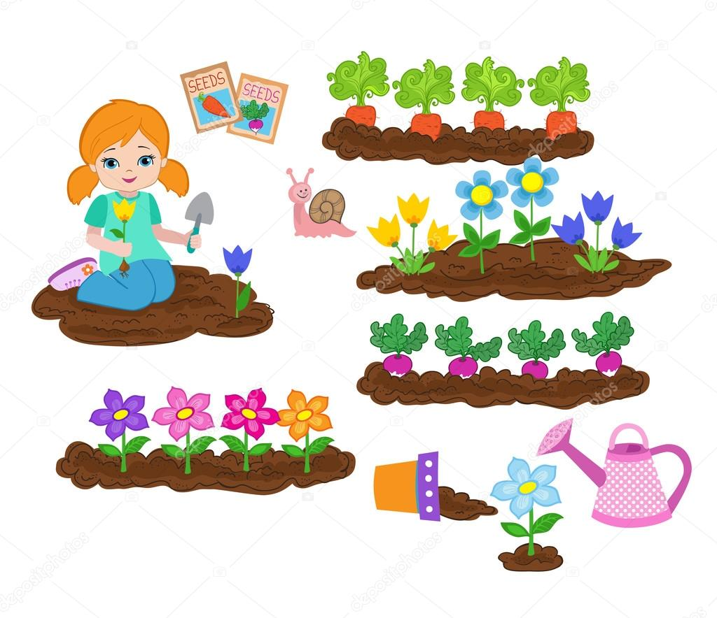 Girl planting things and working in the garden