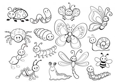 Large Vector Set of Cute Cartoon Bug Line Art
