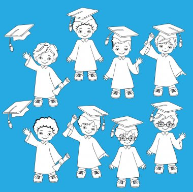 Coloring. Boys. Set of children in a graduation gown and mortarboard. Vector illustration of a group of students and graduates of kindergarten