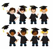 Boys. Set of children in a graduation gown and mortarboard. Vector illustration of a group of students and graduates of kindergarten on a white background.