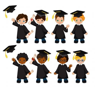 Boys. Set of children in a graduation gown and mortarboard. Vector illustration of a group of students and graduates of kindergarten on a white background. clip art vector