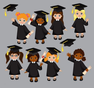 Girls. Set of children in a graduation gown and mortarboard. Vector illustration of a group of students and graduates of kindergarten on a gray background.