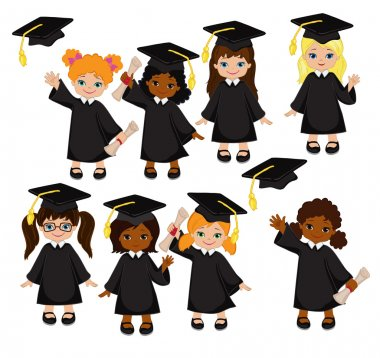 Girls. Set of children in a graduation gown and mortarboard. Vector illustration of a group of students and graduates of kindergarten on a white background. clip art vector