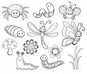 Fotografie Vektorové sada roztomilé kreslené Bug čárové grafiky