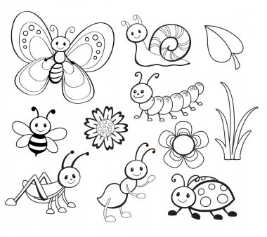 Vector Set of Cute Cartoon Bug Line Art