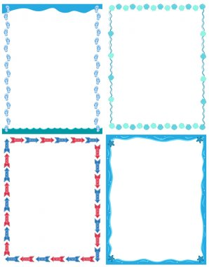 Decorative cartoon frames and borders set A4 vector. Summer sea vacation.