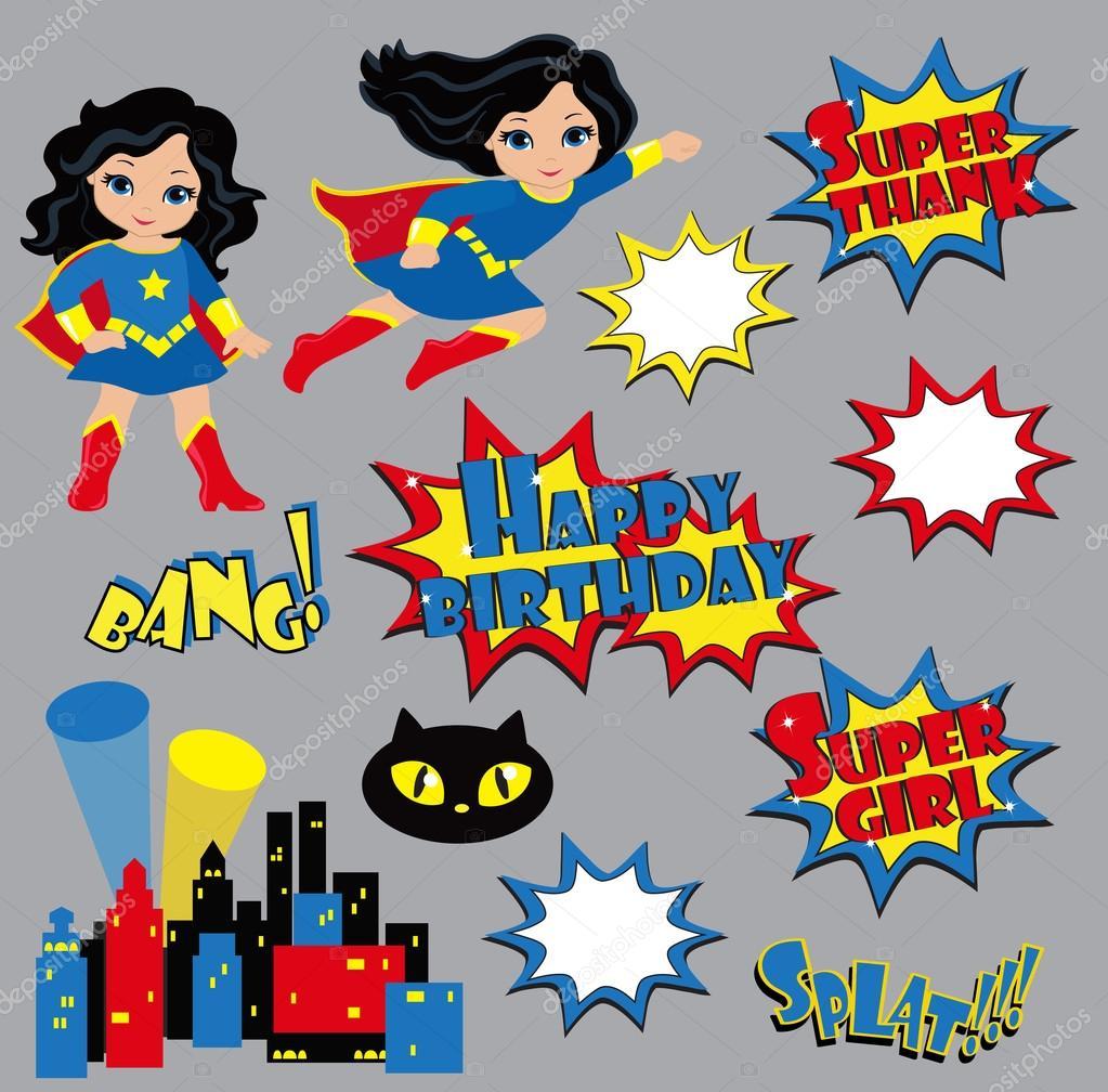 Kleurrijke Cartoon Bijschriften Explosies En Geluiden Super Girl