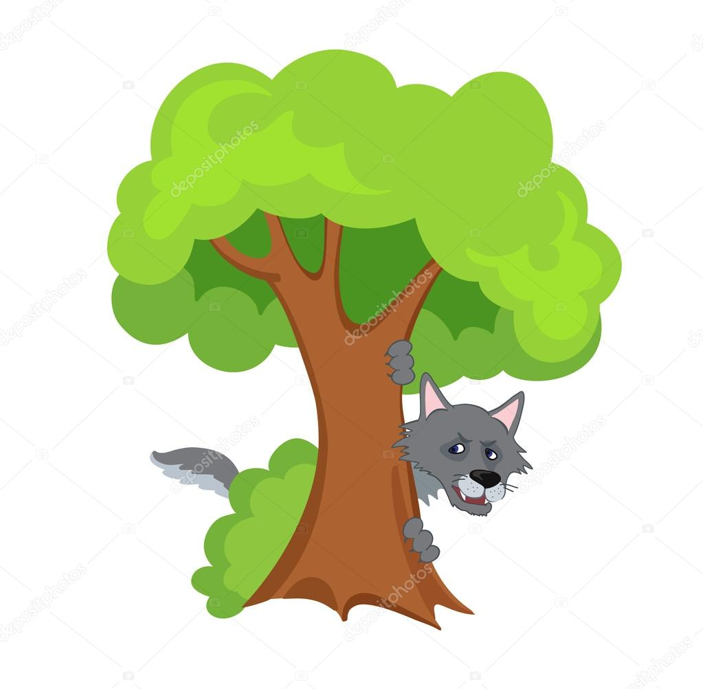 scary wolf hiding behind a tree stock vector sandylevtov 76194119